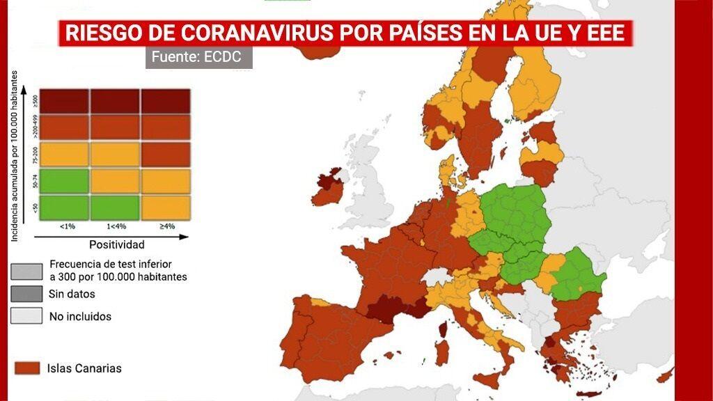 Riesgo de coronavirus por países en la UE y EEE