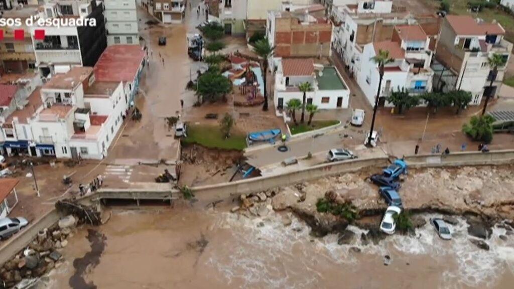 Vinaròs a vista de dron, los destrozos por la furia de las lluvias