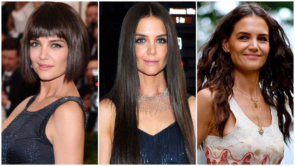 Del corte bob a la melena con ondas y el cabello XXL: esta ha sido la evolución de los cortes de pelo de Katie Holmes.