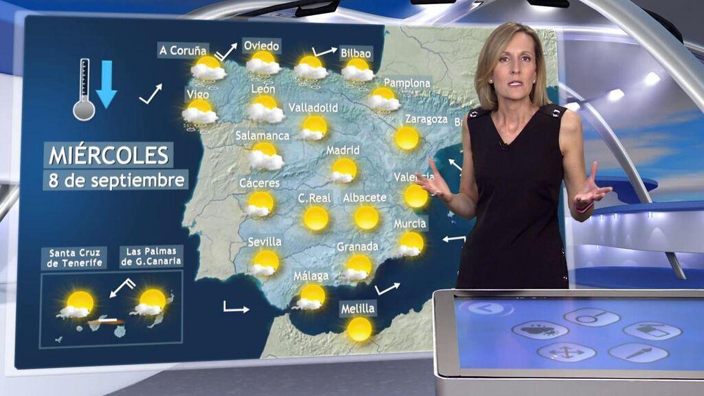 Bajón generalizado de hasta 8 grados: el tiempo que hará el miércoles en España