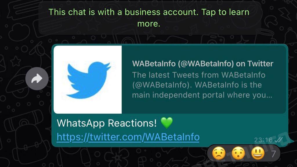 Aspecto de las reacciones en WhatsApp