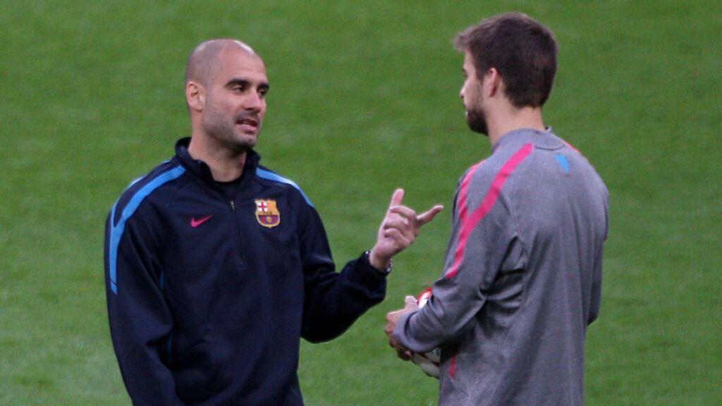 Guardiola y Piqué durante su época en el Barcelona.