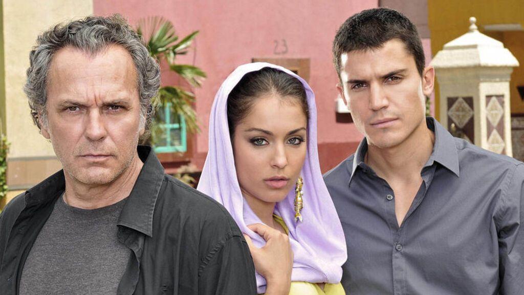 Jose Coronado, Hiba Abouk y Álex González en 'El Príncipe'