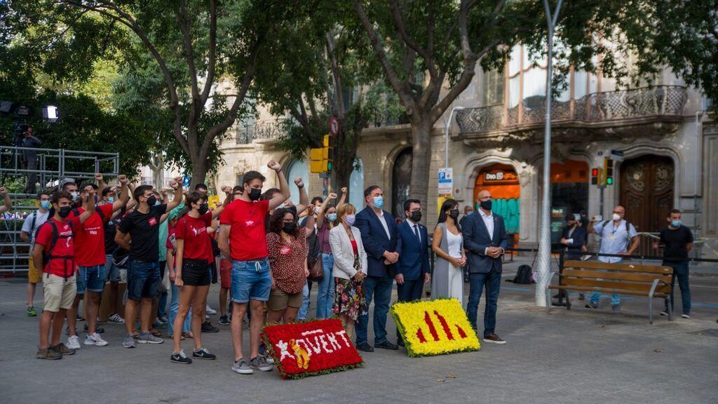 Ofrenda de ERC ante el momento de Rafael Casanova en Barcelona por la Diada