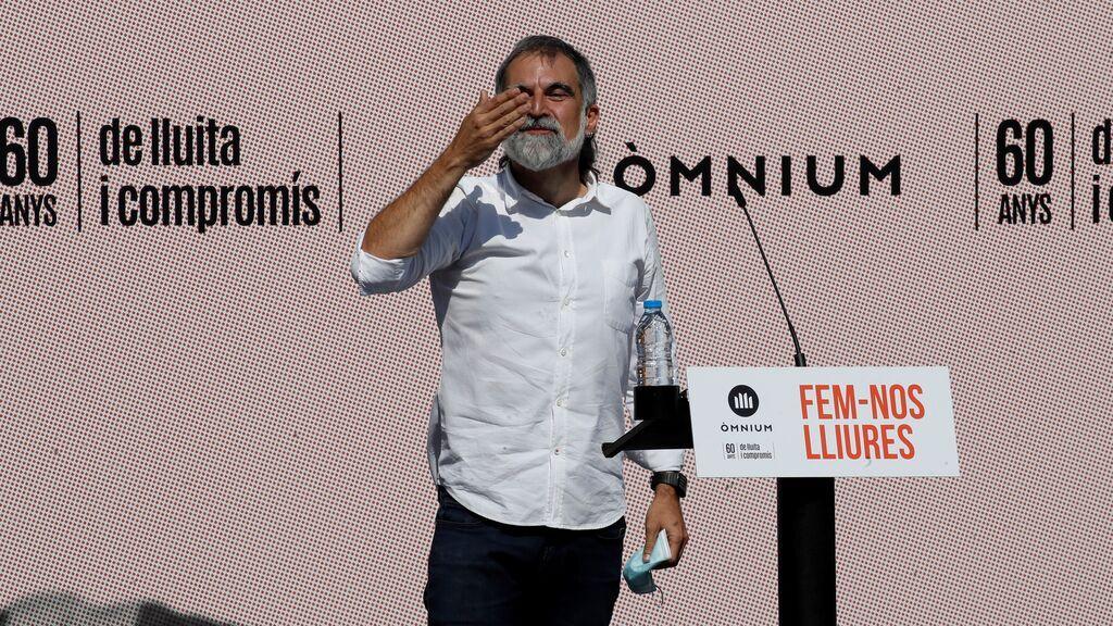 El presidente de Òmnium Cultural, Jordi Cuixart, durante su intervención en un acto político
