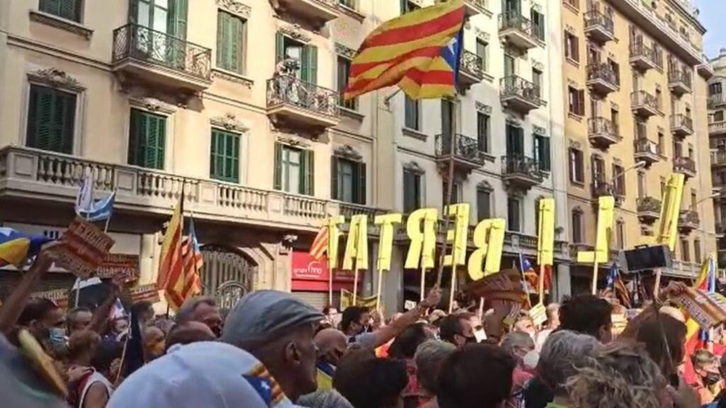Pitada ante la Jefatura Superior de Policía durante la manifestación convocada por la ANC en Barcelona