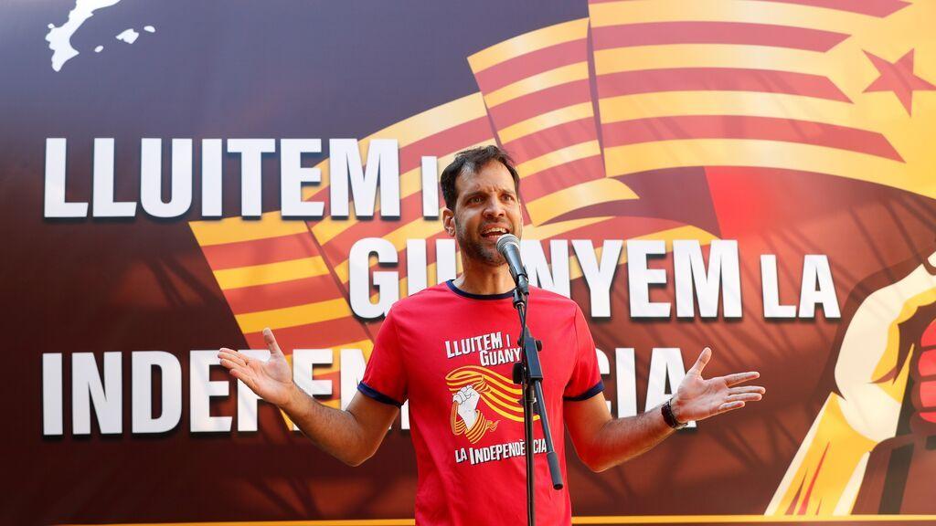 El secretario Nacional de ANC, Adrián Alsina, durante el acto independentista