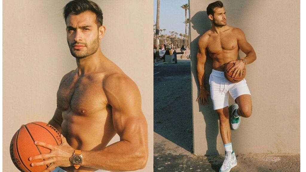 Sam Asghari posando con estilo deportivo