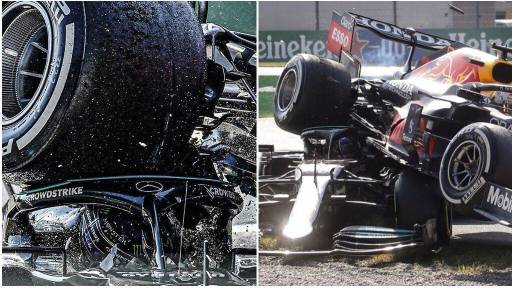 Momento justo del accidente entre Hamilton y Verstappen