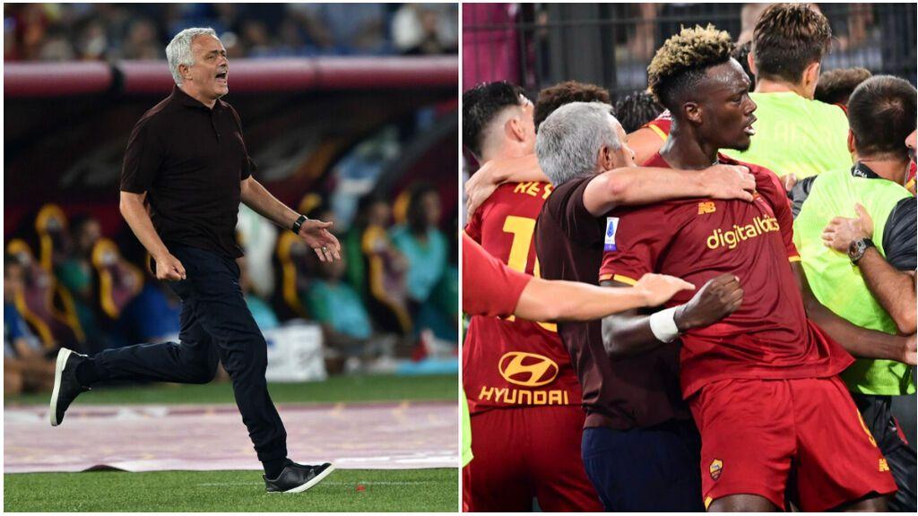 Mourinho enloquece con la victoria en el descuento: carrera de 60 metros y abrazo con sus jugadores