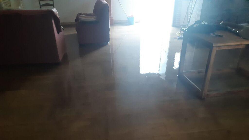La casa de Manuel anegada por la lluvia
