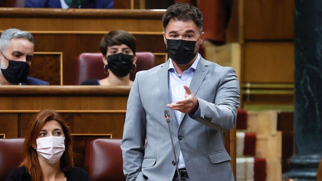 """Rufián avisa a Sánchez de que """"si decepcionan, Vox y el PP entran en Moncloa"""""""