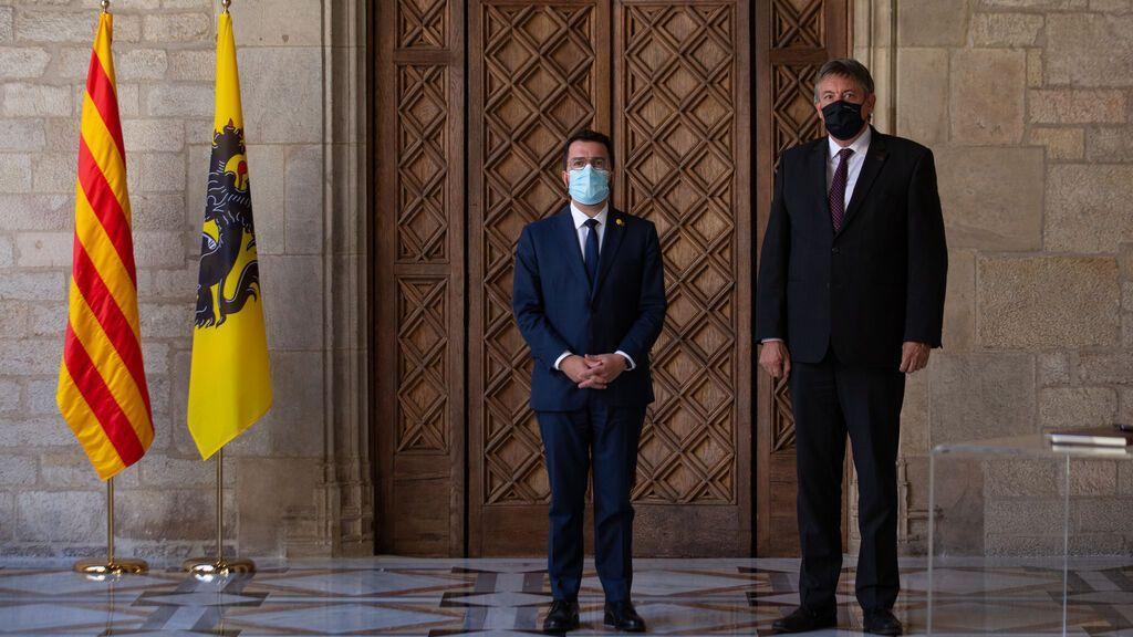 El president de la Generalitat, Pere Aragonès, y el presidente de Flandes, Jan Jambon
