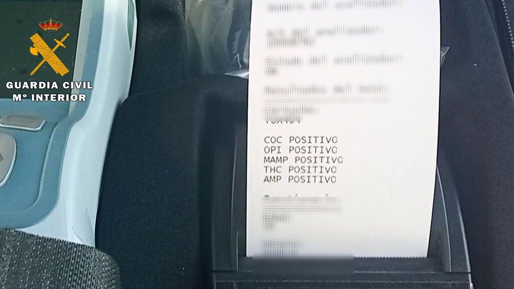 El resultado del test con los cinco positivos.