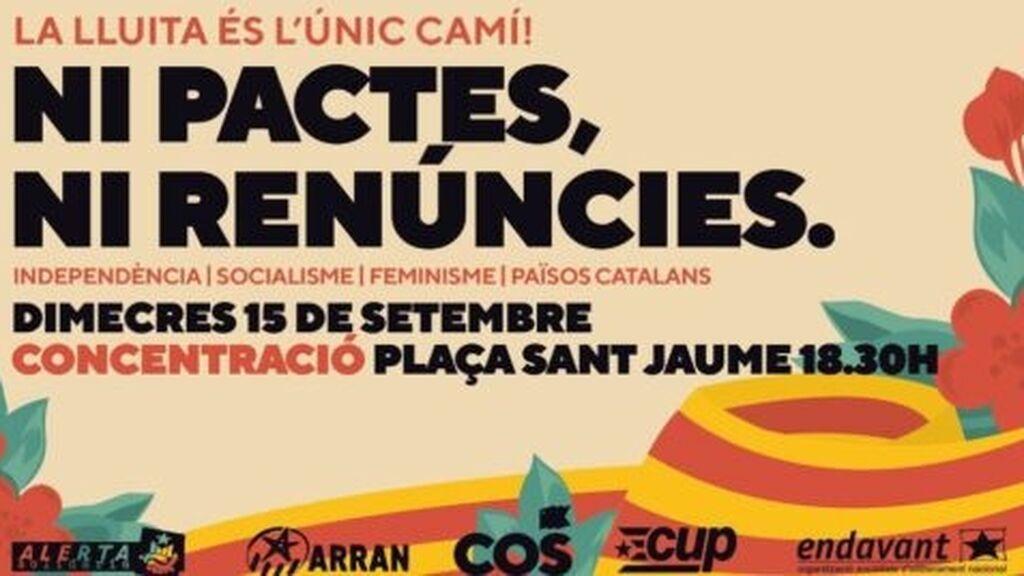 La CUP convoca una protesta contra la mesa de diálogo en la plaza Sant Jaume