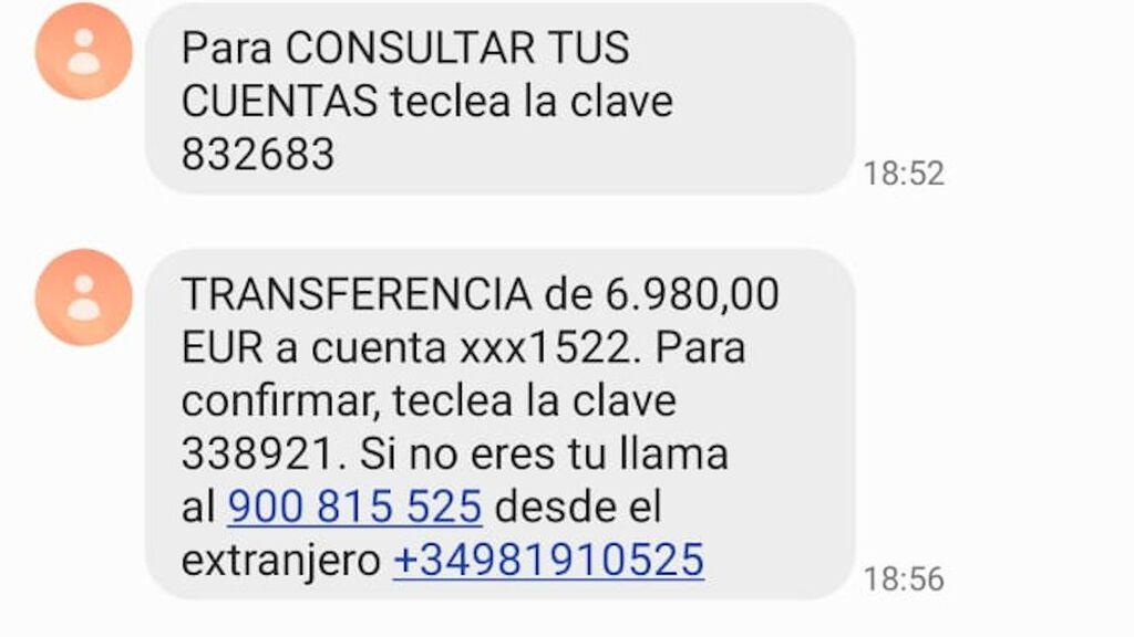 SMS que los mensajes envían a sus víctimas durante la llamada de teléfono.