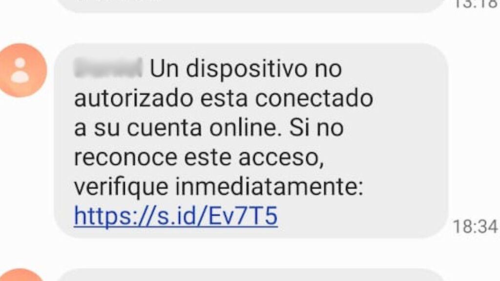 Primer SMS que los ciberdelincuentes envían a sus víctimas.