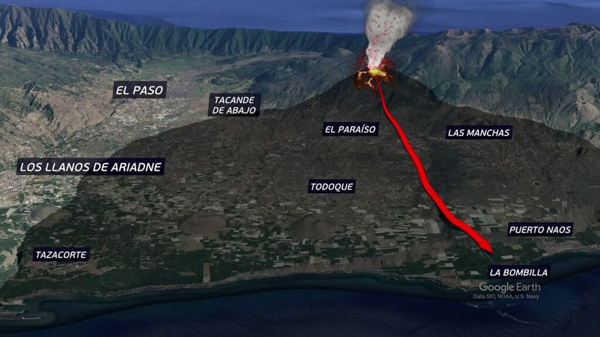 Así avanzan las coladas de lava de La Palma buscando el mar en la zona de Playa Nueva