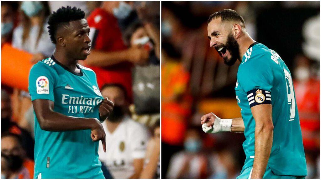 Benzema y Vinicius suman 11 goles en cinco jornadas de Liga.