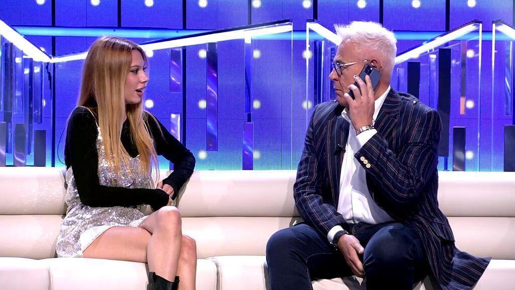 Jordi González llama en directo a Carmen Borrego ante la atenta mirada de Alejandra Rubio