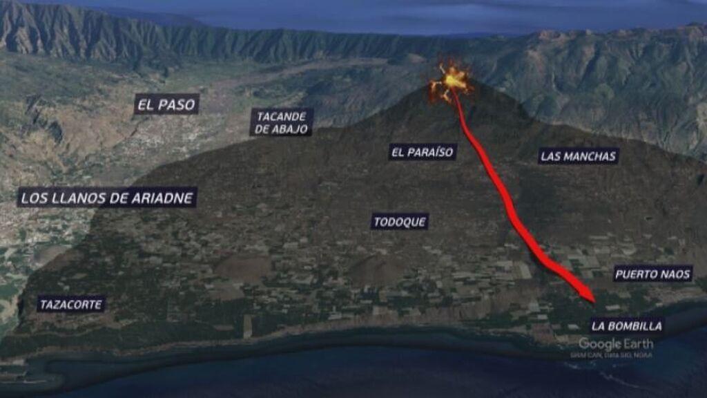 Mapa del recorrido de la lava hasta el mar