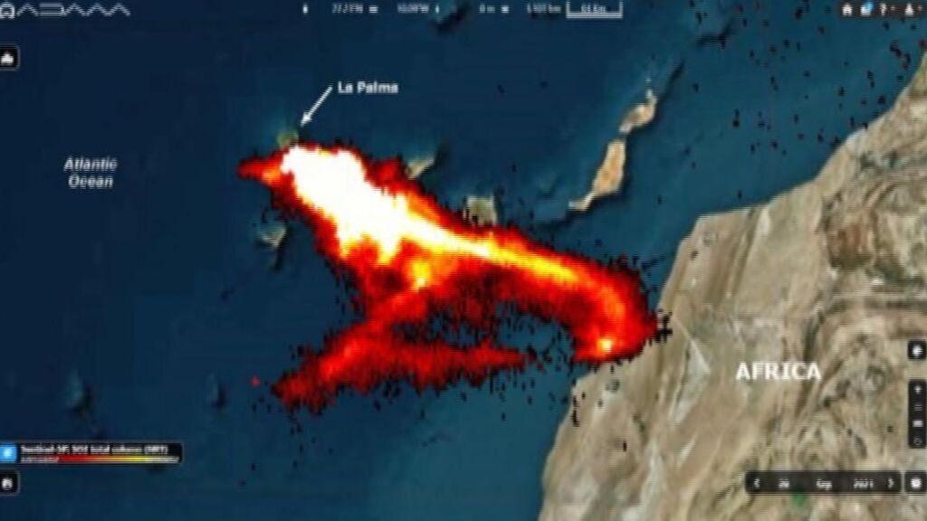 La erupción del volcán de La Palma a vista de satélite
