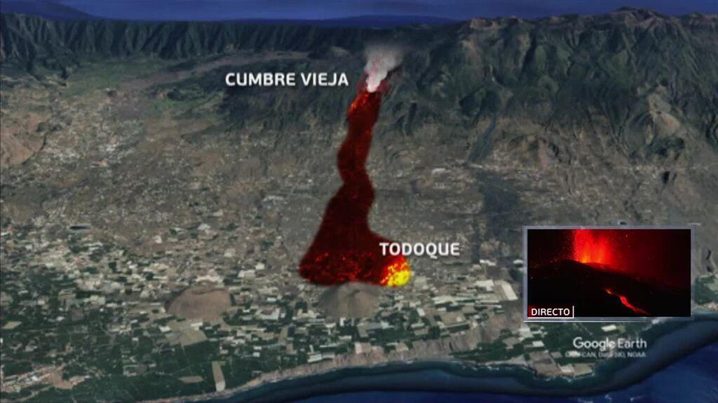 Los ríos de lava, los gases de la erupción y las cenizas amenazan la vida y la salud de los palmeros