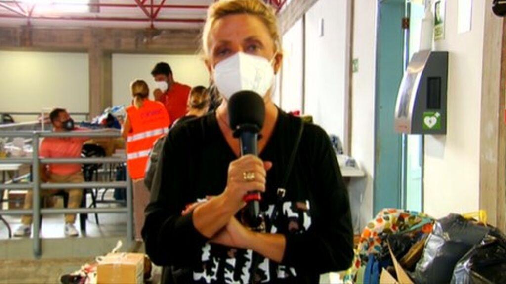 Lydia Lozano, en el pabellón habilitado para acoger a las víctimas