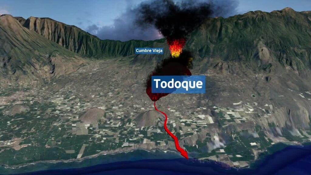 Mapa del avance de la lava