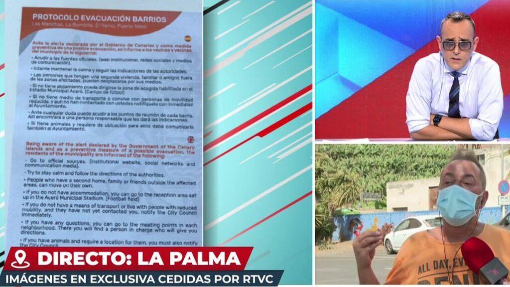 Raúl denuncia que el plan de evacuación que le dieron por si el volcán entraba en erupción estaba desactualizado