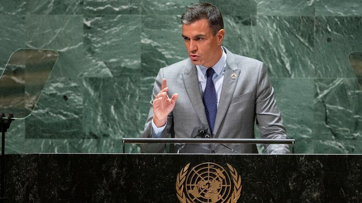 El presidente del Gobierno, Pedro Sánchez, durante su intervención en la Asamblea General de Naciones Unidas