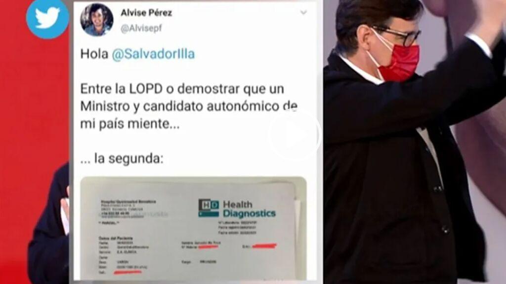 El tuitero  Alvise Pérez reconoce que colgó en la red sin comprobar la falsa PCR positiva de Salvador Illa