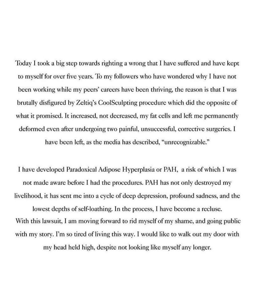 Comunicado de Linda Evangelista sobre su situación actual
