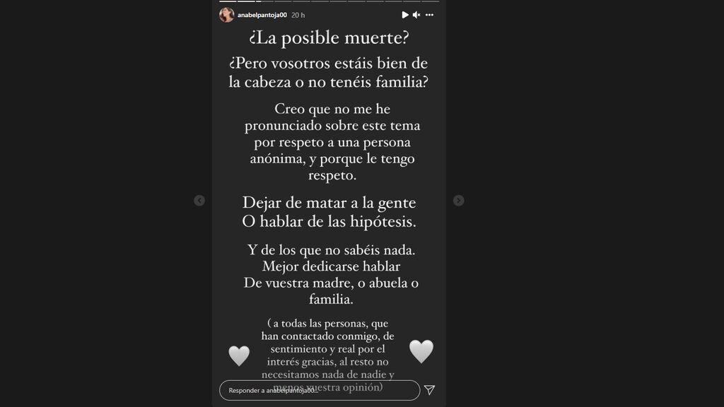 La publicación en stories de Anabel Pantoja