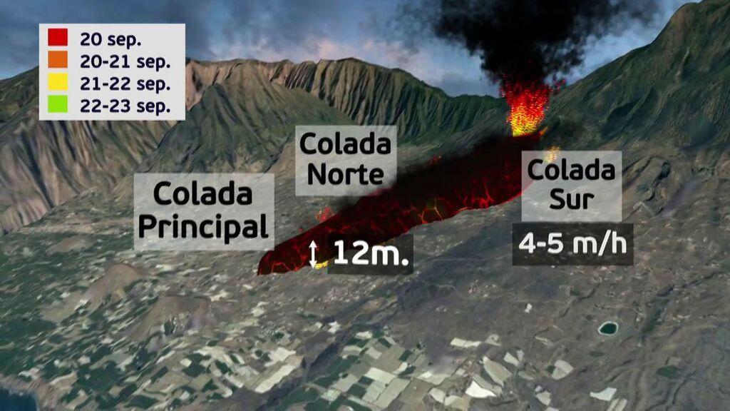 La trayectoria de la lava del volcán en La Palma