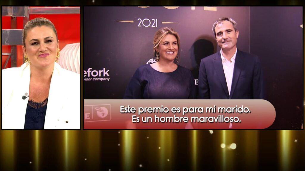 """Carlota Corredera, premiada como la mejor comunicadora, dedica el premio a su marido: """"Te quiero"""""""