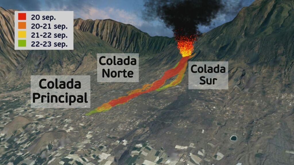 Mapa del recorrido de la lava tras seis días de erupción