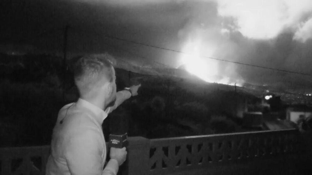 Visión nocturna del volcán de La Palma