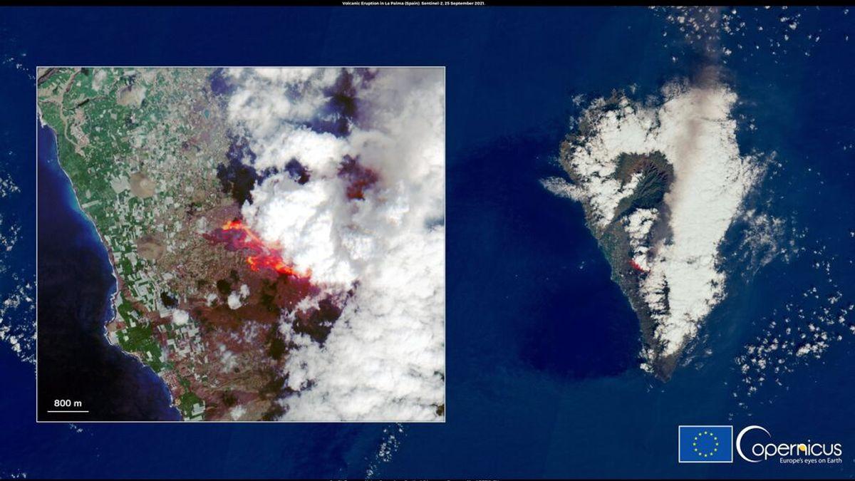 La imagen del satélite Copernicus que muestra cómo la lava del volcán va arrasando La Palma