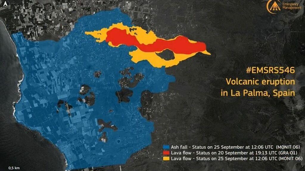 Más de 1.300 hectáreas afectadas por la caída de cenizas en La Palma, según el satélite Copernicus