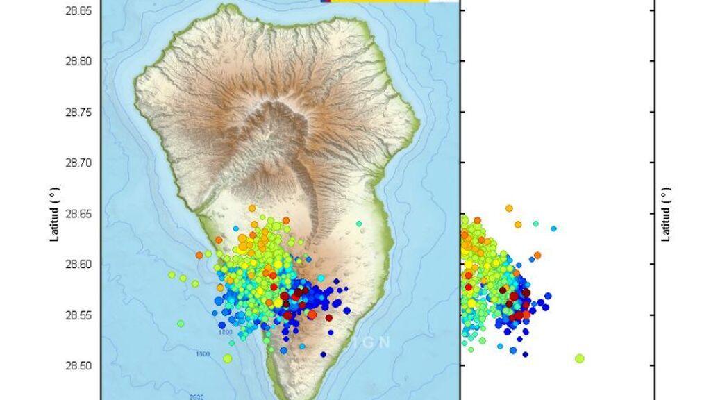 La actividad sísmica se reactiva y se desplaza al sur de La Palma, con 16 terremotos en Fuencaliente