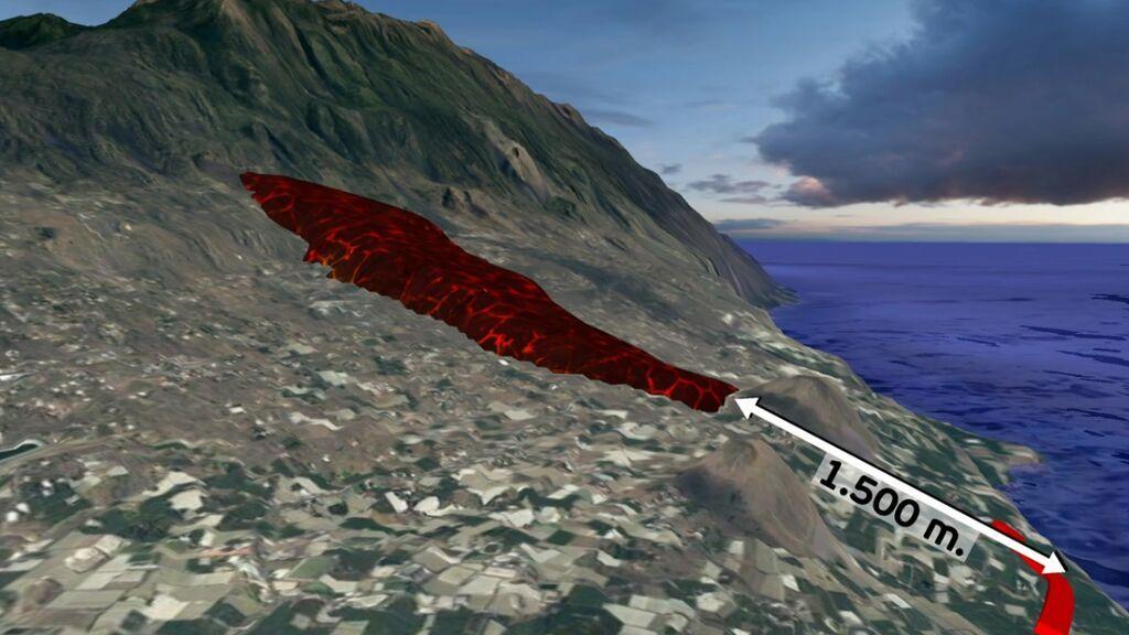 La lava del volcán de La Palma continúa avanzando hacia el mar: así captan los satélites si trayectoria