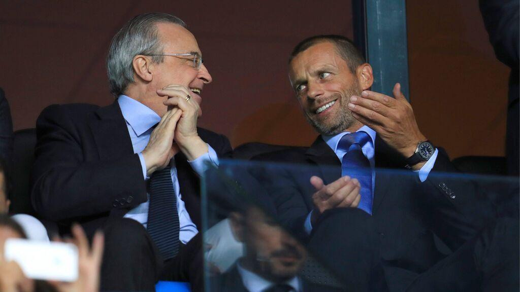 Florentino Pérez y Ceferin, en el palco de un partido.