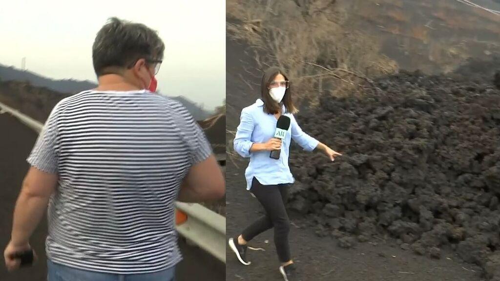 La desolación de una vecina al ver su cultivo arrasado por el magma