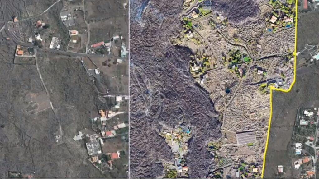 Las imágenes del antes y el después de la erupción del volcán en La Palma