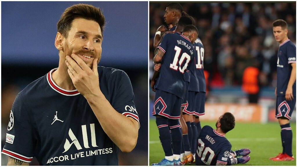 Messi se tumba en la barrera para evitar el gol del City.