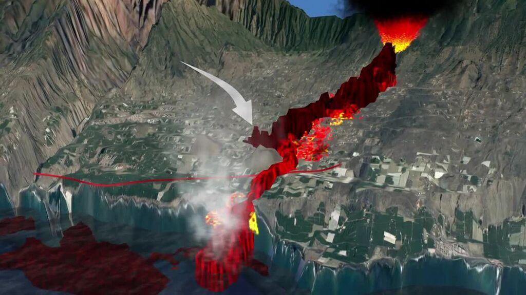 Así ha sido el recorrido de la lava hasta llegar al mar