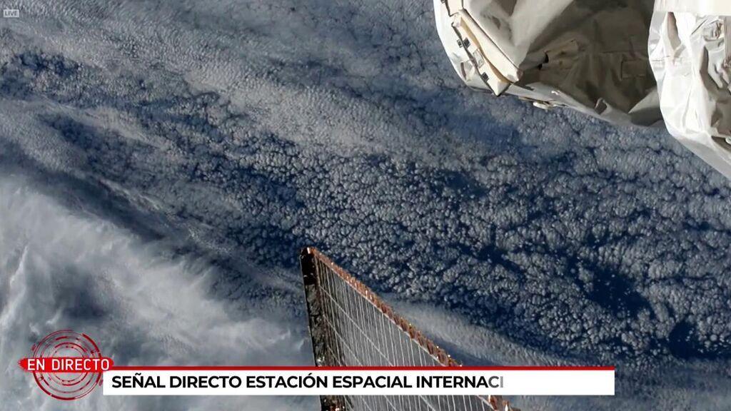 El volcán de La Palma visto desde la estación espacial