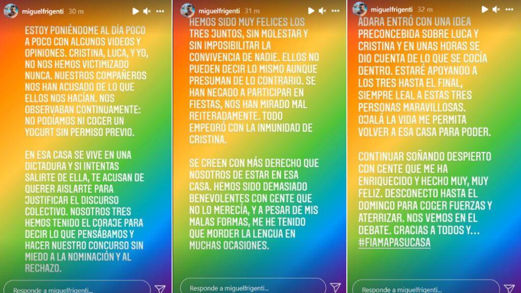 Las declaraciones de Miguel Frigenti / ig: @miguelfrigenti