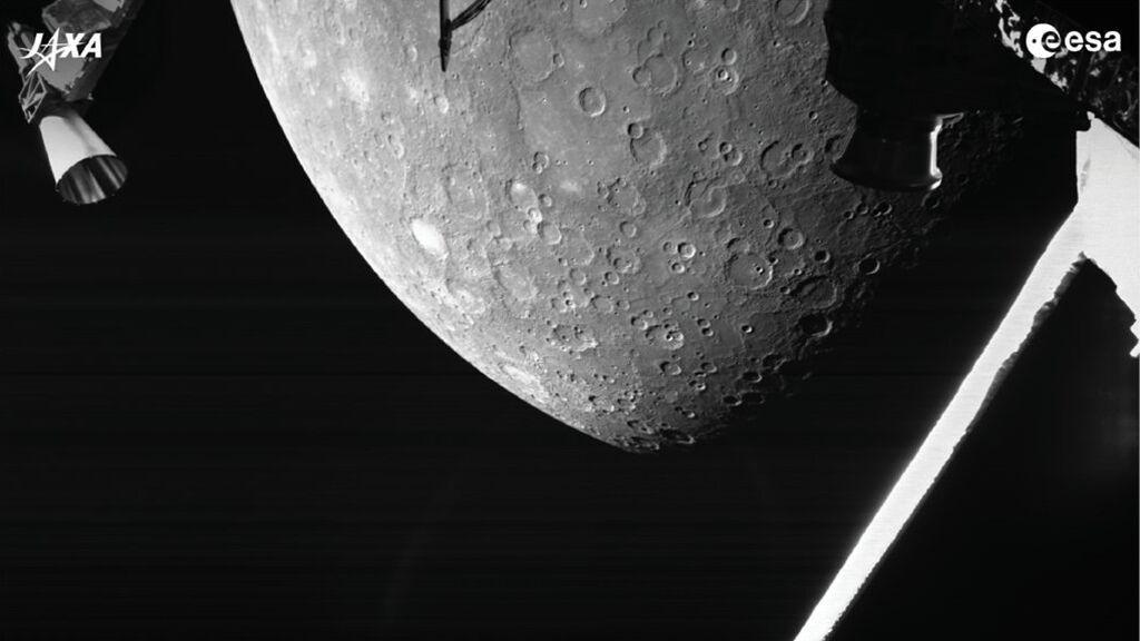 La sonda BepiColombo de la ESA  y JAXA llega a Mercurio  y toma sus primeras fotos del planeta